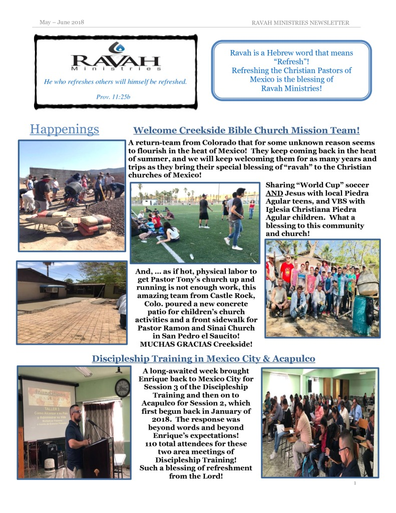 thumbnail of Ravah Ministries May- June 2018 Newsletter